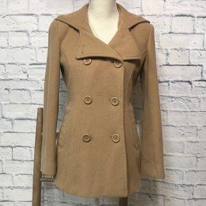 AK Anne Klein Wool Blend Carmel Pea Coat